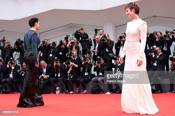 Lou de Laage and Juliette Binoche attend a premiere for 'The Wait' during the 72nd Venice Film Festival at on September 5 2015 in Venice Italy