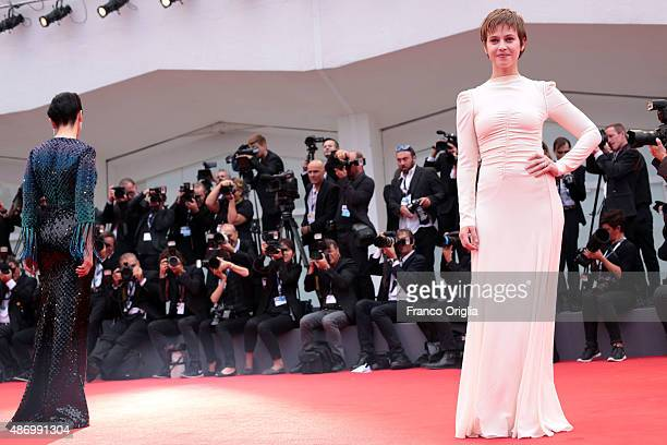 Lou de Laage and Juliette Binoche attends a premiere for 'The Wait' during the 72nd Venice Film Festival at on September 5 2015 in Venice Italy
