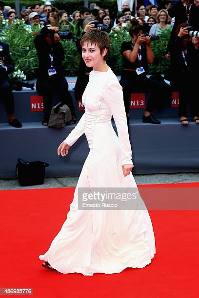 Lou De Laage attends a premiere for 'The Wait' during the 72nd Venice Film Festival on September 5 2015 in Venice Italy