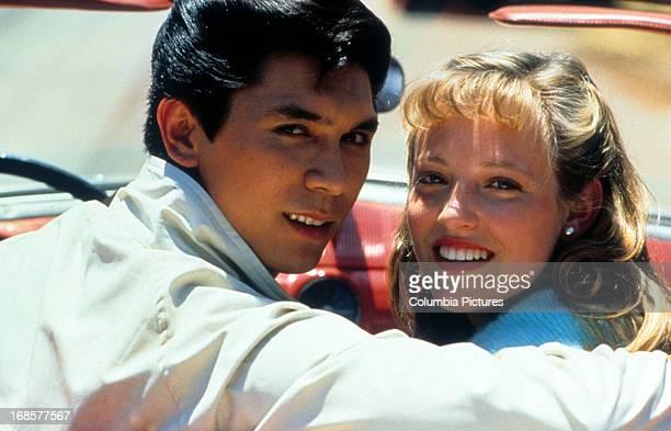 Lou Diamond Phillips and Danielle von Zerneck in a car in a scene from the film 'La Bamba' 1987