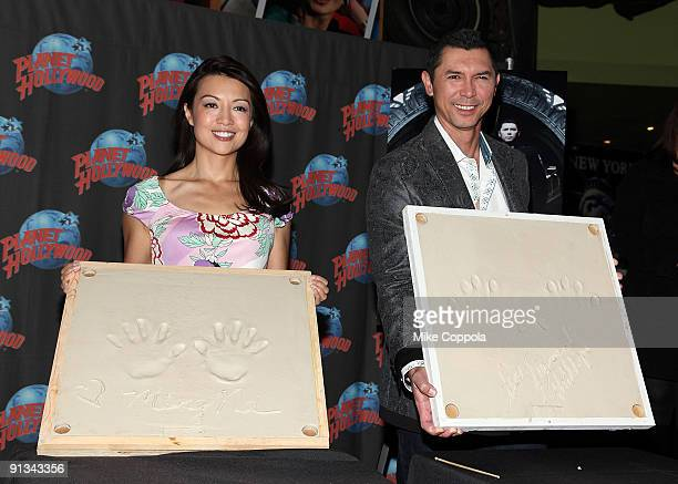 Lou Diamond Phillips and Ming-Na visit Planet Hollywood Times Square on October 2, 2009 in New York City.