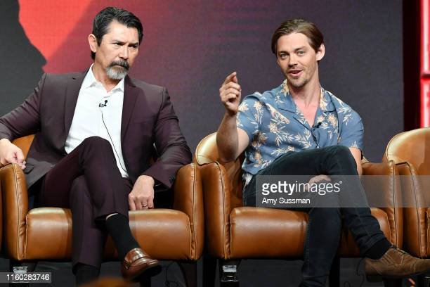 Lou Diamond Phillips and Tom Payne of Prodigal Son speak during the Fox segment of the 2019 Summer TCA Press Tour at The Beverly Hilton Hotel on...