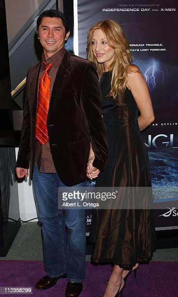 Lou Diamond Phillips and Yvonne Boismier during The SciFi Channel's Miniseries The Triangle Premiere at Pacific Design Center in West Hollywood...