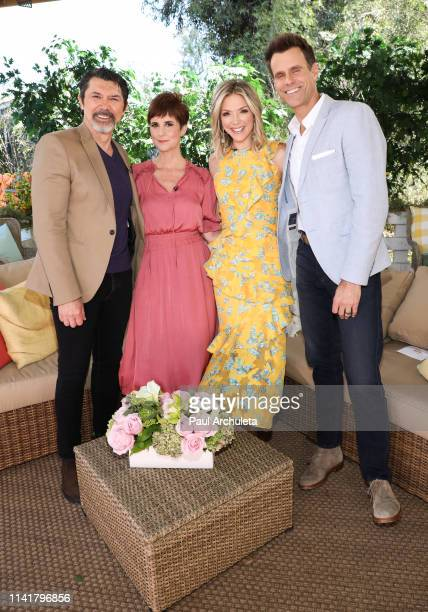 Lou Diamond Phillips Anne Marie Cummings Debbie Matenopoulos and Cameron Mathison on the set of Hallmark's Home Family at Universal Studios Hollywood...