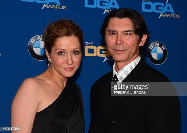 Lou Diamond Phillips arrives with his wife on the red carpet for the 67th Annual Directors Guild Awards in Century City California February 7 2015...