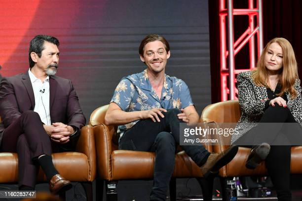 Lou Diamond Phillips Tom Payne and Sarah Schechter of Prodigal Son speak during the Fox segment of the 2019 Summer TCA Press Tour at The Beverly...