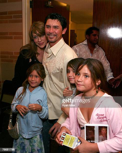 Lou Diamond Phillips with wife Yvonne Boismier and Lili Grace and Isabella attend the opening night party for Camelot starring Lou Diamond Phillips...