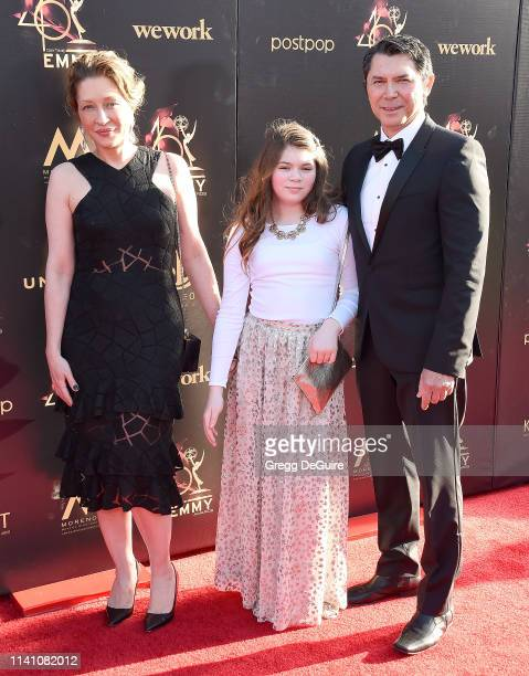 Lou Diamond Phillips Yvonne Boismier Phillips and Indigo Sanara Phillips arrive at the 46th Annual Daytime Creative Arts Emmy Awards at Pasadena...