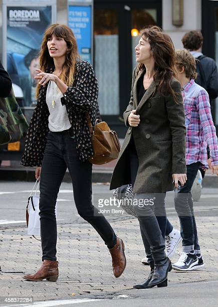Lou Doillon and Charlotte Gainsbourg are seen strolling around Greenwich Village in Manhattan on October 30 2014 in New York City
