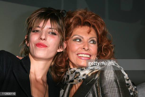 Lou Doillon and Sophia Loren during Pirelli 2007 Calender News Conference at Hilton Park Lane in London Great Britain