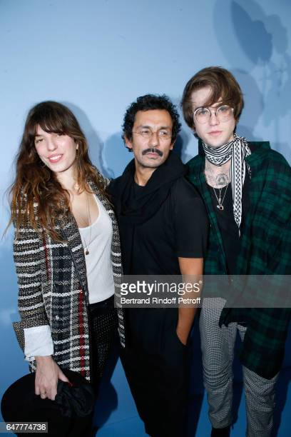 Lou Doillon Stylist Haider Ackermann and GabrielKane DayLewis pose backstage after the Haider Ackermann show as part of the Paris Fashion Week...