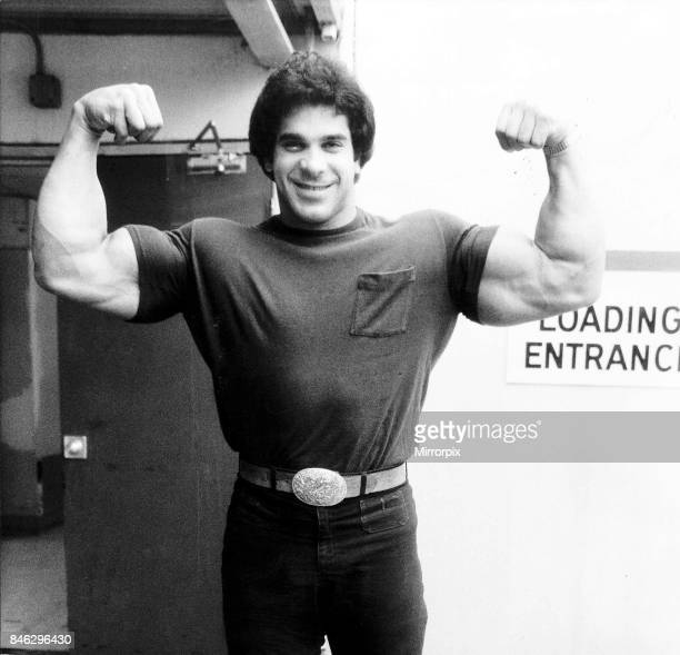 Lou Ferrigno Actor and Bodybuilder with arms up showing muscles, March 1980.
