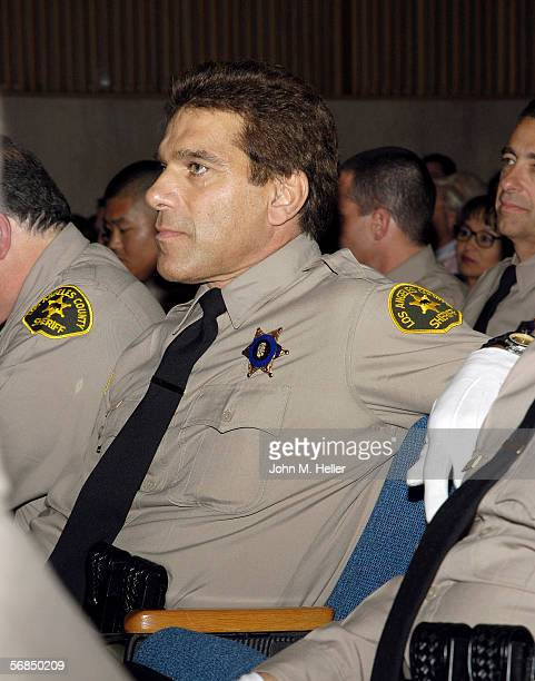 Lou Ferrigno Actor World Champion body builder listens to a speech given by Los Angeles County Sheriff Lee Baca during graduattion ceremonies from...