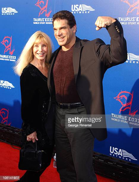Lou Ferrigno and Carla during The 3rd Annual World Stunt Awards - Arrivals at Paramount Studios in Los Angeles, California, United States.