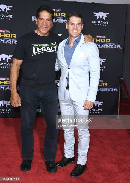Lou Ferrigno and son Lou Jr arrives at the Premiere Of Disney And Marvel's Thor Ragnarok on October 10 2017 in Los Angeles California