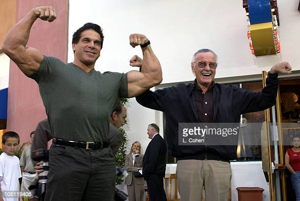 Lou Ferrigno and Stan Lee during World Premiere Of The Hulk Hollywood Green Carpet at Universal Amphitheatre in Universal City California United...