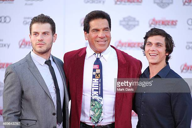 Lou Ferrigno Jr Lou Ferrigno and Brent Ferrigno attend the premiere of Marvel's Avengers Age Of Ultron at Dolby Theatre on April 13 2015 in Hollywood...