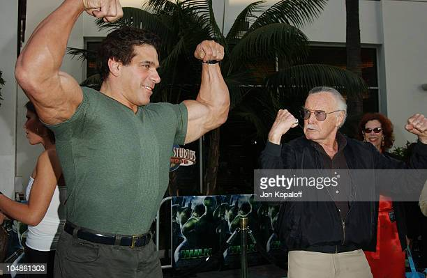 """Lou Ferrigno & Stan Lee during The World Premiere Of """"The Hulk"""" at Universal Amphitheatre in Universal City, California, United States."""
