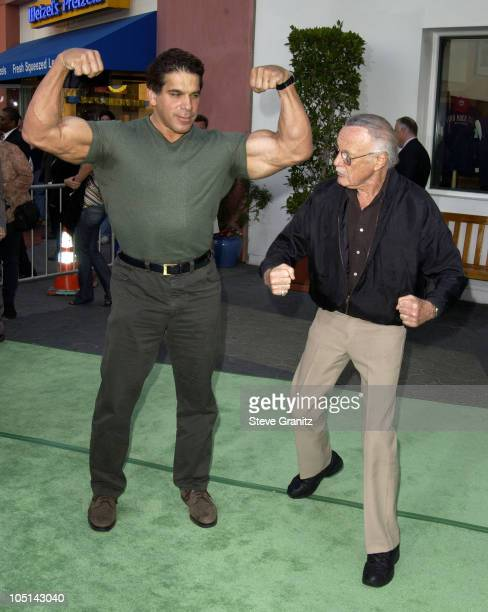 """Lou Ferrigno & Stan Lee during World Premiere Of """"The Hulk"""" - Hollywood at Universal Amphitheatre in Universal City, California, United States."""