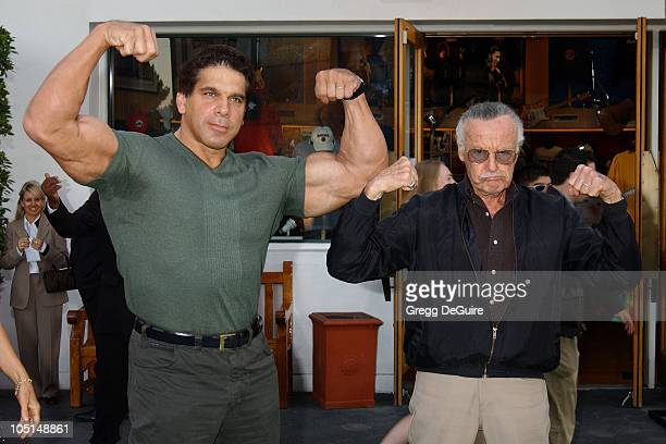 Lou Ferrigno Stan Lee during World Premiere Of The Hulk Hollywood at Universal Amphitheatre in Universal City California United States