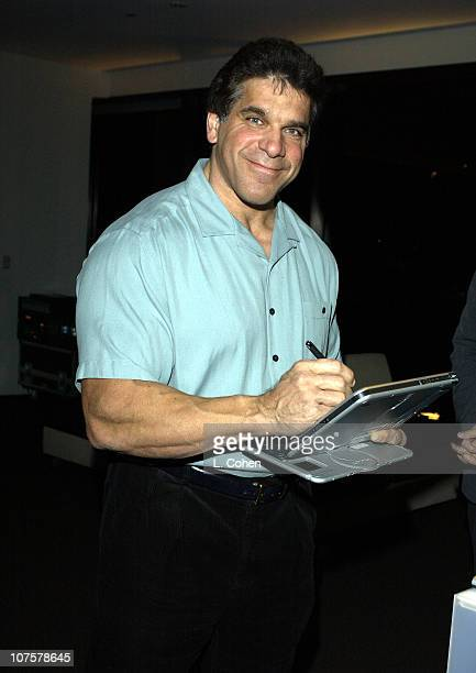 """Lou Ferrigno trys the Compaq Tablet PC TC1000 during HP and The Hollywood Reporter Celebrate """"The Future Through TV & Film"""" - Arrivals and Party at..."""