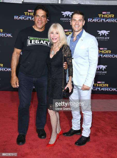 Lou Ferrigno Wife and son Lou Jr arrives at the Premiere Of Disney And Marvel's Thor Ragnarok on October 10 2017 in Los Angeles California