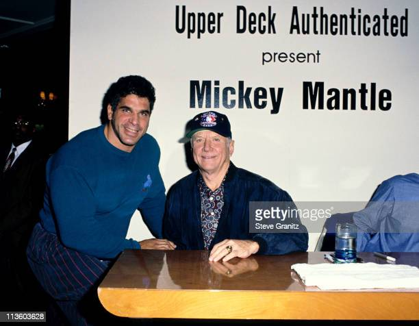 Lou Ferrigo Mickey Mantle during Mickey Mantle Upper Deck at Bullock's Department Store in Los Angeles California United States