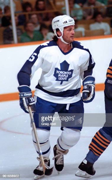 Lou Franceschetti of the Toronto Maple Leafs skates against the Buffalo Sabres during NHL preseason game action on September 30 1989 at Maple Leaf...