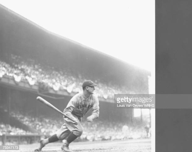 Lou Gehrig a split second after making contact, Indians vs. Yankees, League Park.