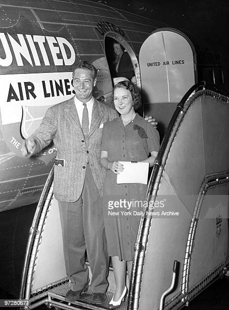 Lou Gehrig arriving at Newark Airport with wife from Mayo Clinic