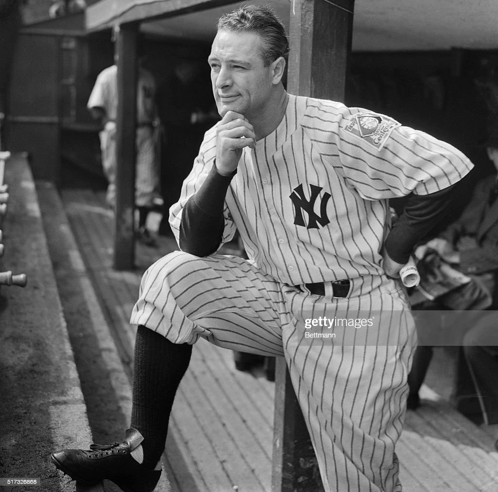 Lou Gehrig, Captain of the New York Yankees and hero of many a World Series Games, is pictured at the Yankee Stadium here on October 5th, as he watched his teammates take on the Cincinnati Reds in the second game of the World Series.