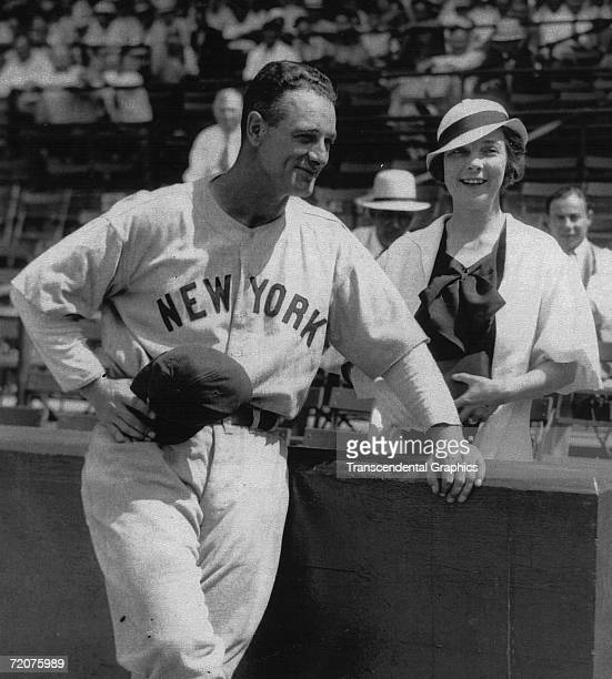 CHICAGO JUNE 19 1933 Lou Gehrig first baseman for the New York Yankees is shown with his fiancee Miss Eleanor Twichell at Comiskey Park in Chicago on...