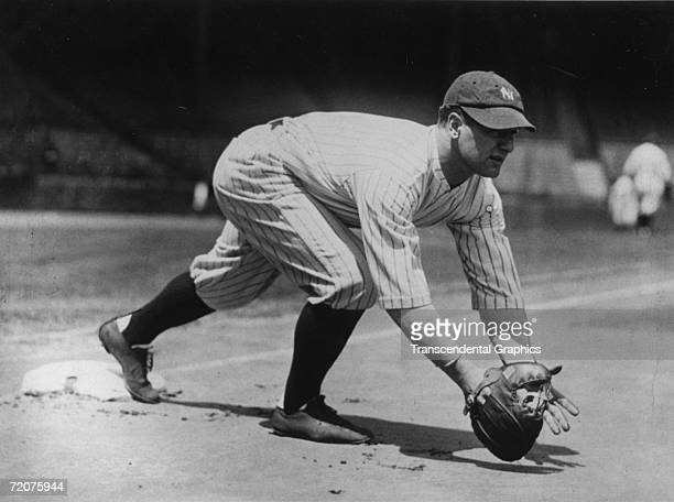 Lou Gehrig, first baseman for the New York Yankees, works out at first base before a game at Yankee Stadium in 1926.