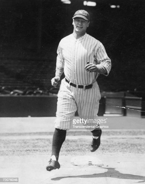 Lou Gehrig gets some work in at Yankee Stadium before a game in July of 1927 in New York.