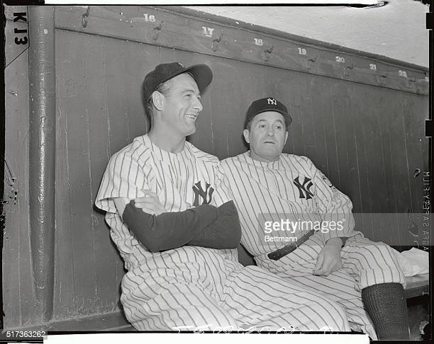 Lou Gehrig 'Iron Horse' of the New York Yankees is shown with Yankee manager Joe McCarthy in New York toady after the findings of physicians at the...