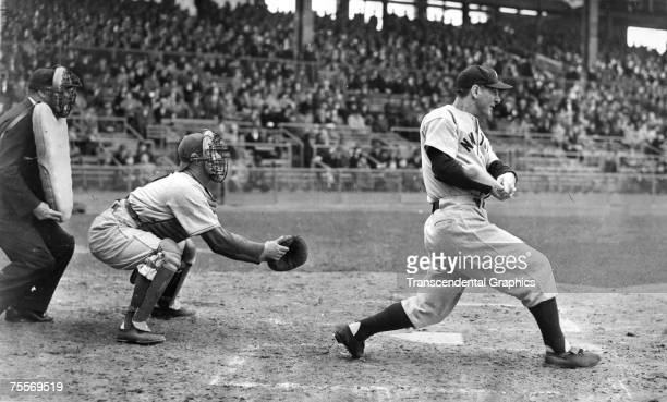 Lou Gehrig is battling ALS disease as his batting struggles continue during a pre-season game for the New York Yankees at Brooklyn on April 18, 1939....