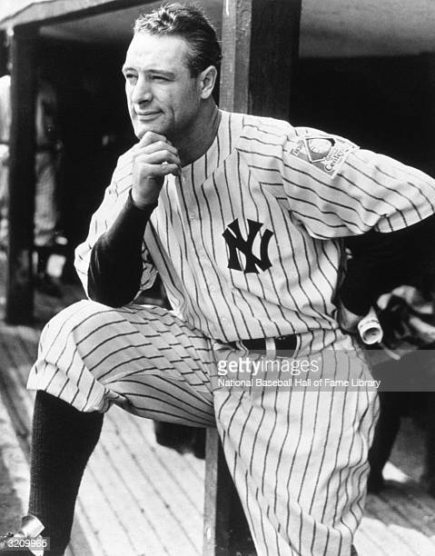 Lou Gehrig of the New York Yankees in the dugout during a game circa 19231939