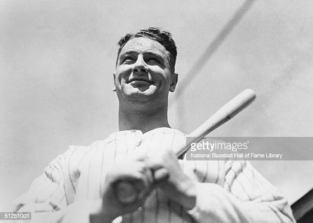 Lou Gehrig of the New York Yankees poses with his bat for a season portrait Lou Gehrig played for the New York Yankees from 19231939