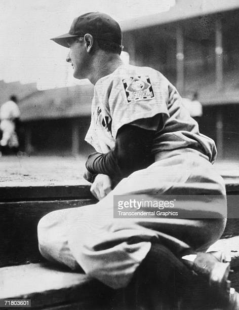 Lou Gehrig of the New York Yankees the Iron Man first baseman suffering from ALS disease looks out at Tiger Stadium after requesting not to play...