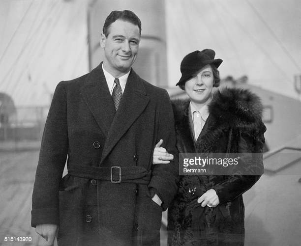 Lou Gehrig slugging first baseman of the New York Yankees and his bride are pictured as they returned to New York from England on the S S Berengaria...