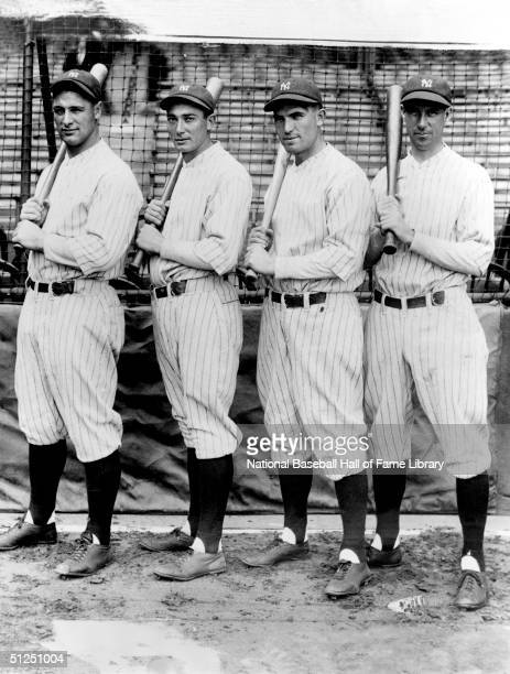 Lou Gehrig Tony Lazerri Mark Koenig Joe Dugan of the New York Yankees pose with their bat before a season game Lou Gehrig played for the New York...