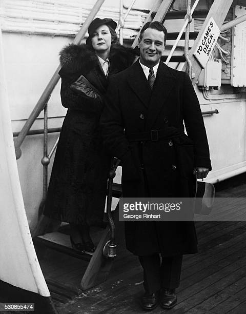 Lou Gehrig with his wife photographed shortly after their arrival in New York after their arrival in New York after a world tour The Yankee first...