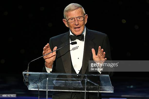 Lou Holtz winner of the Reds Bagnell Award for contribution to the game of Football attends the 78th Annual Maxwell Football Club Awards Gala at the...