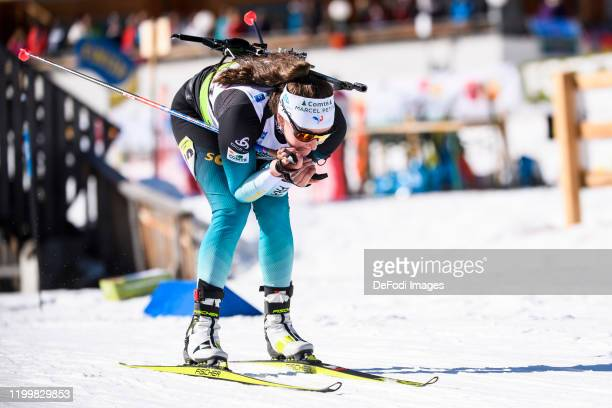 Lou Jeanmonnot of France in action competes during the Women 12 km Mass Start 60 of the IBU Cup Biathlon Martell-Val Martello on February 8, 2020 in...