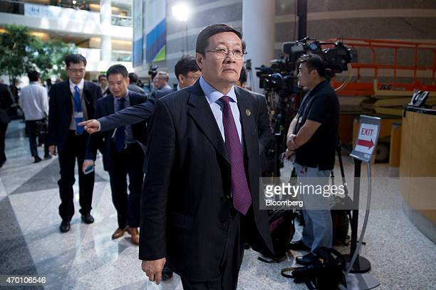 Lou Jiwei China's finance minister attends the International Monetary Fund and World Bank Group Spring Meetings in Washington DC US on Friday April...
