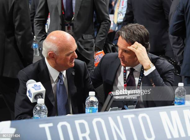 Lou Lamoriello and Brendan Shanahan of the Toronto Maple Leafs attend the 2017 NHL Draft at the United Center on June 23 2017 in Chicago Illinois