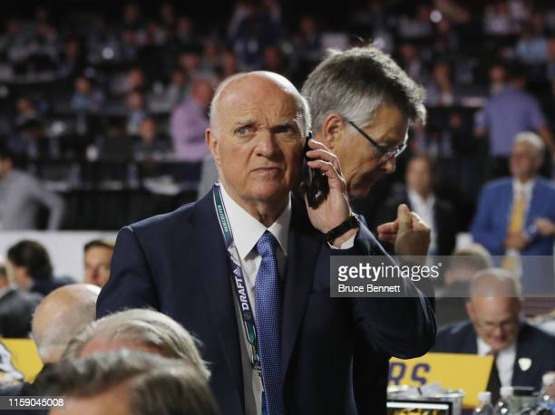 Lou Lamoriello of the New York Islanders attends the 2019 NHL Draft at the Rogers Arena on June 22 2019 in Vancouver Canada