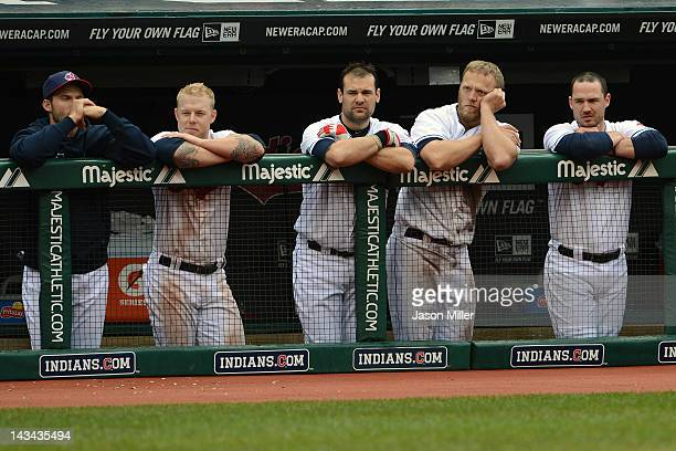 Lou Marson Aaron Cunningham Casey Kotchman Shelley Duncan and Jack Hannahan of the Cleveland Indians from the dugout during the ninth inning against...