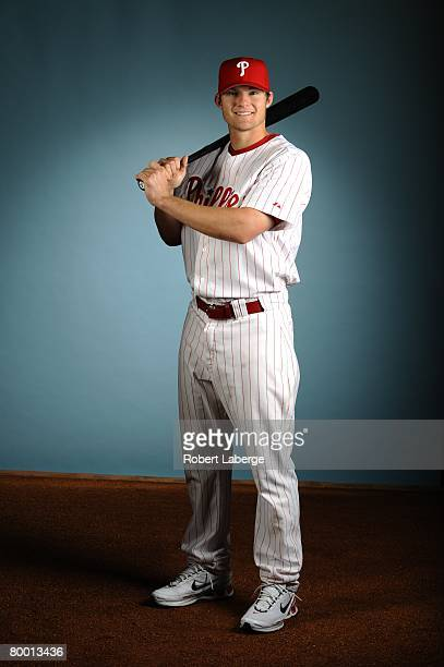 Lou Marson of the Philadelphia Phillies poses for a portrait during the spring training photo day on February 21, 2008 at Bright House Field in...