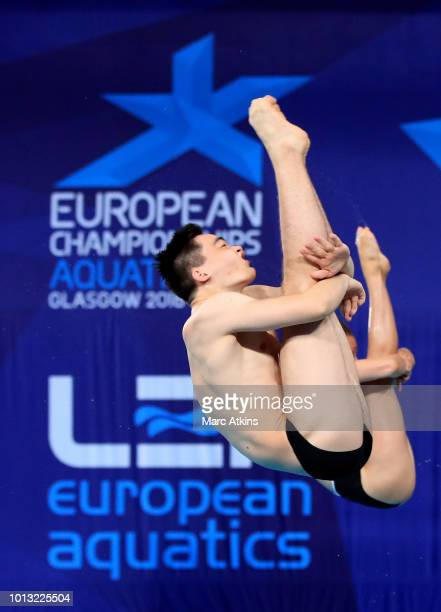 Lou Massenger and Tina Punzel of Germany compete in the Mixed Synchronised 3m Springboard final during the diving on Day seven of the European...